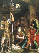 Giulio Romano The Nativity and Adoration of the Shepherds in the Distance the Annunciation to the Shepherds (mk05) oil painting picture wholesale